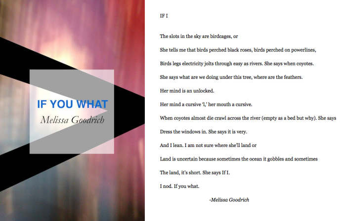 Click above to read Melissa Goodrich's chapbook IF YOU WHAT.